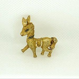 Vtg Gold Tone Donkey Brooch Democratic Political